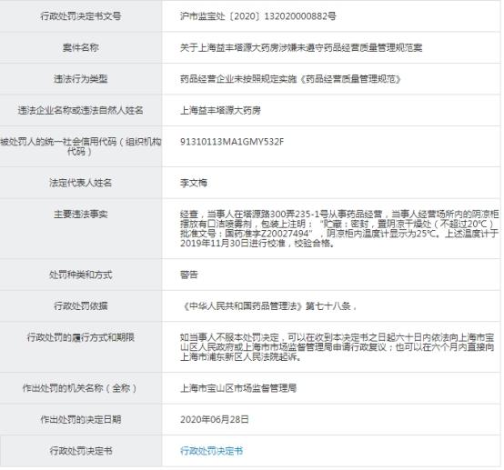 上海益丰药房门店1个月4遭申饬这回储藏温度出题目